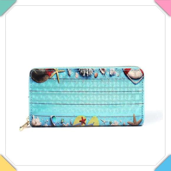 Handbags - Seashell Print Zip Around Wallet